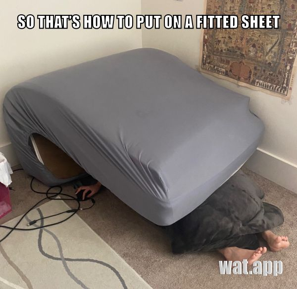 SO THAT'S HOW TO PUT ON A FITTED SHEET